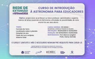 Rede de Extensão #UFUemCASA divulga Curso de Introdução à Astronomia para educadores