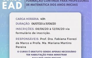 """Rede de Extensão #UFUemCASA divulga """"Curso de formação contínua de professores que ensinam Matemática nos anos iniciais"""""""