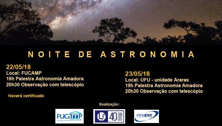 Imagem mostra céu estrelado com árvores fazendo sombra, abaixo pode-se localizar as informações do evento.