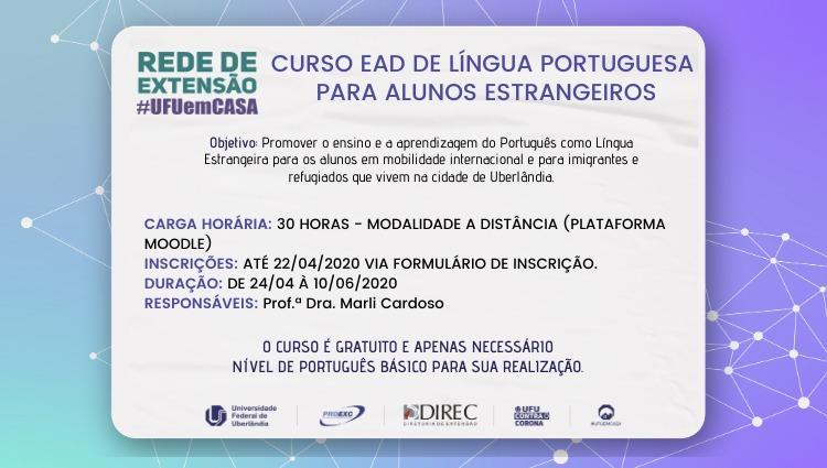 Rede de Extensão #UFUemCASA divulga Curso EAD de Língua Portuguesa para alunos estrangeiros