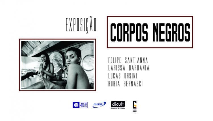 """Foto mostra duas mulheres olhando em direção à camera, ao lado estão os nomes dos artistas da exposição """"Corpos Negros"""": Felipe Sant'anna, Larissa Dardani, Lucas Orsini e Rubia Bernasci"""
