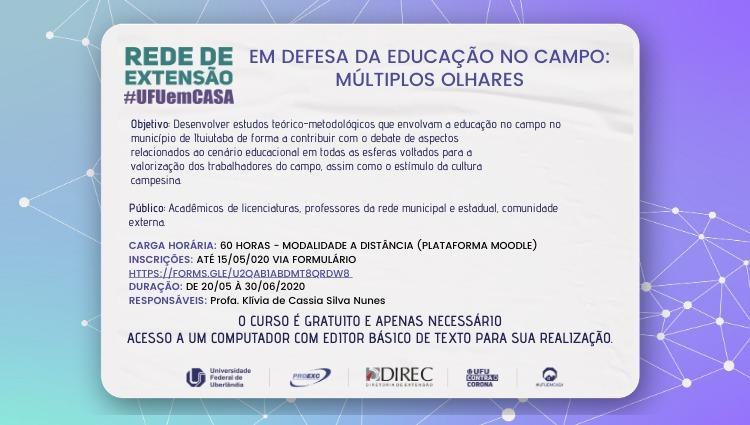 """Rede de Extensão #UFUemCASA divulga curso """"Em defesa da Educação no Campo: múltiplos olhares"""""""