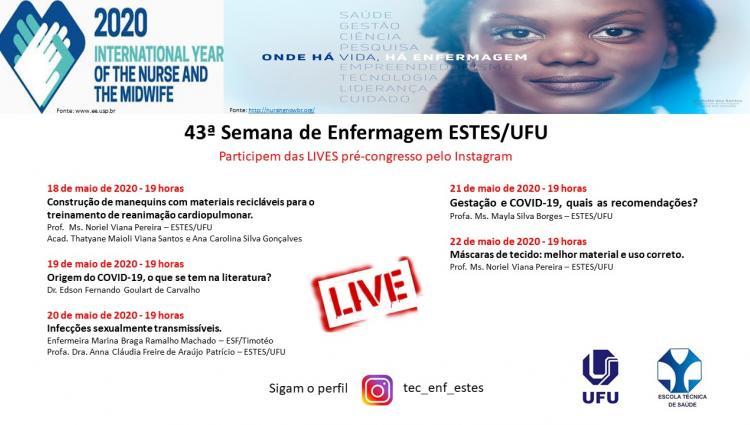 Curso Técnico em Enfermagem da ESTES/UFU irá realizar 5 lives